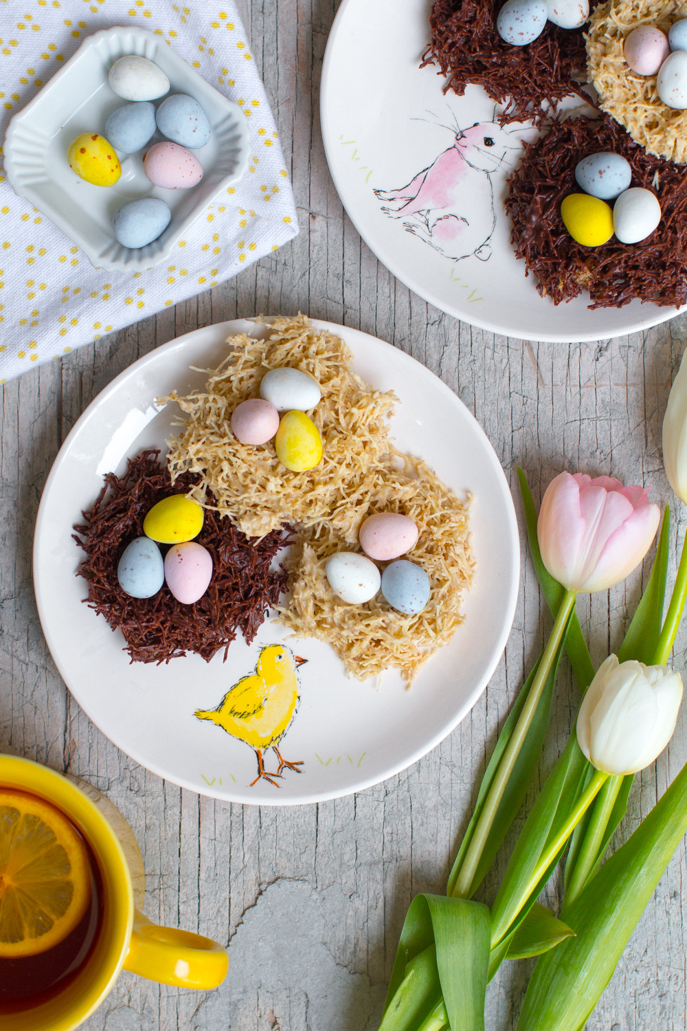 Dark and White Chocolate Birds' Nests