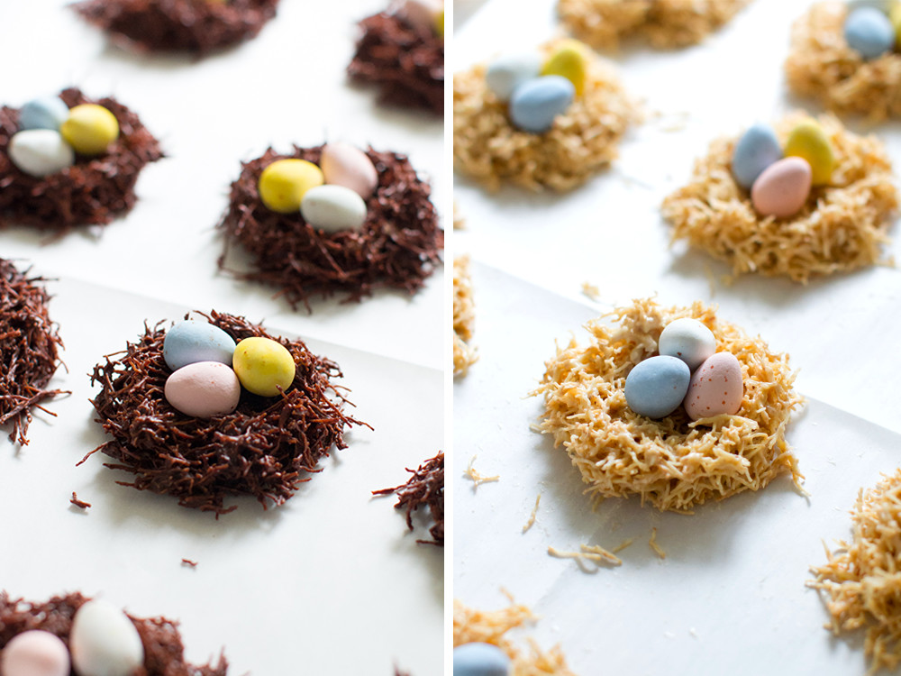 Shaping White and Dark Chocolate Birds' Nests