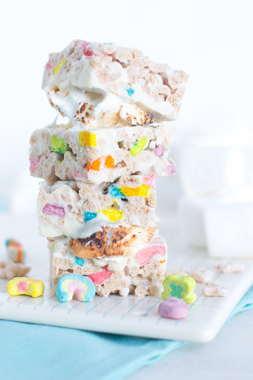 A stack of Lucky Charms Treat S'mores!
