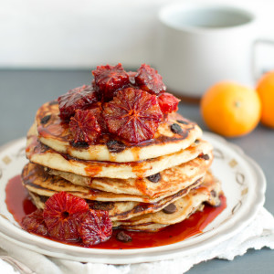 Ricotta Chocolate Chip Pancakes & Blood Orange Compote
