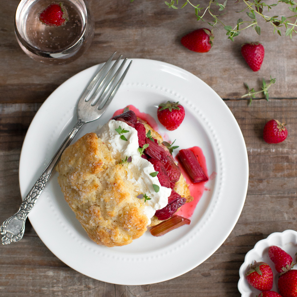 Strawberry Rhubarb Shortcake with Whipped Mascarpone.