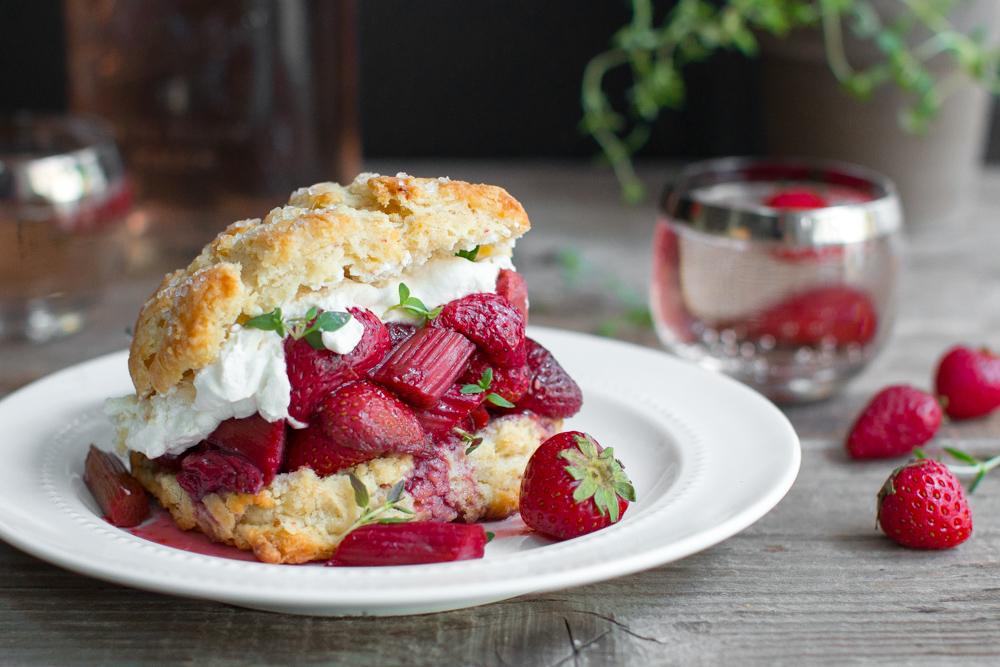 Strawberry Rhubarb Shortcake with Whipped Mascarpone
