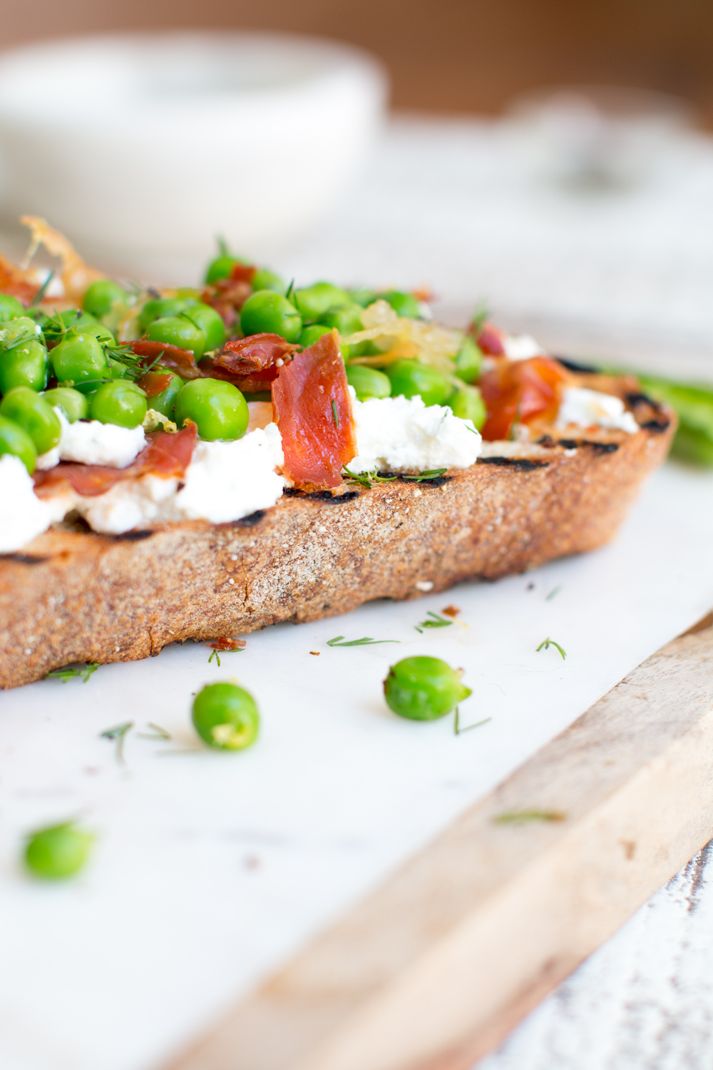 Pea Prosciutto and Goat Cheese Tartine