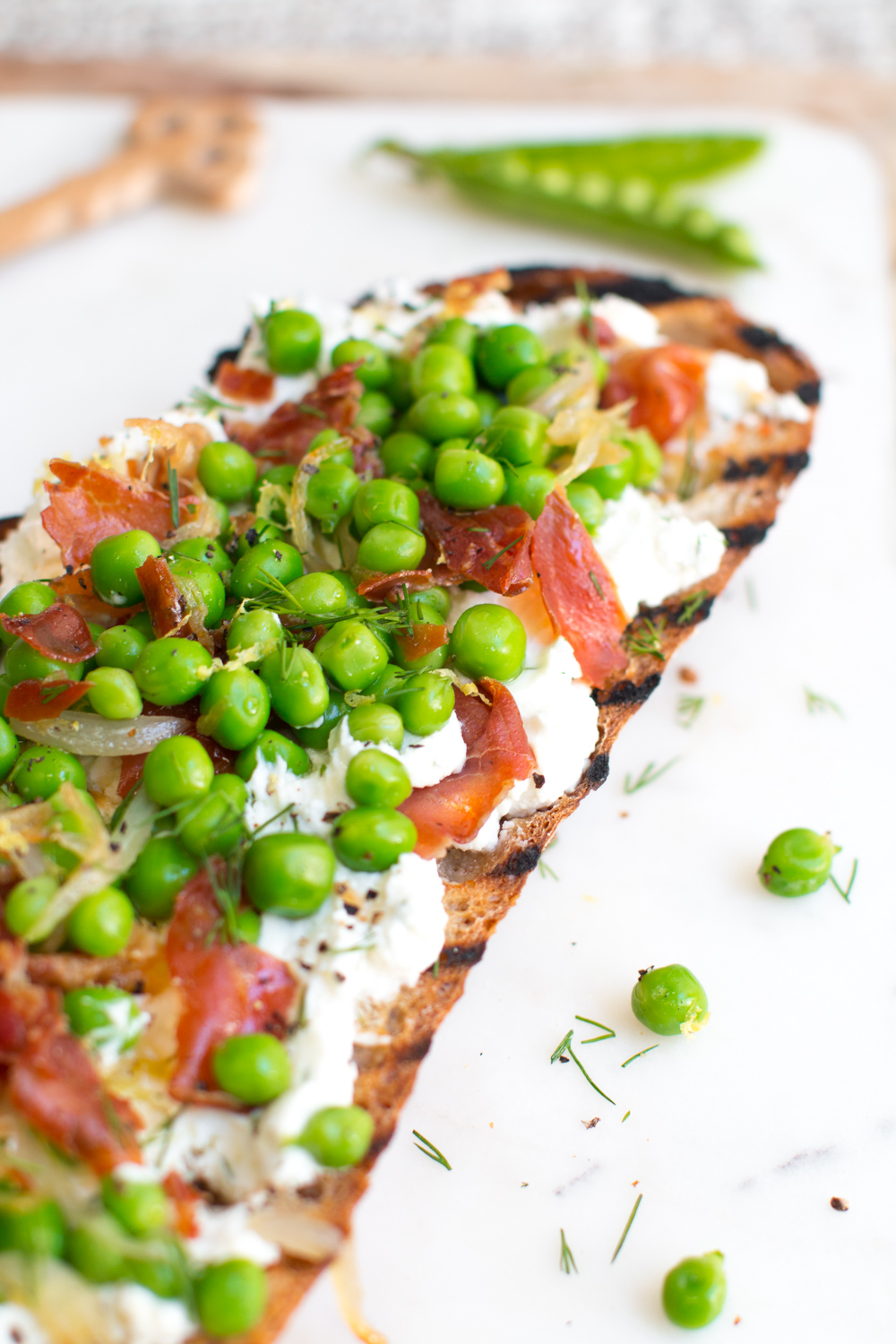 Pea Prosciutto and Goat Cheese Tartine-6