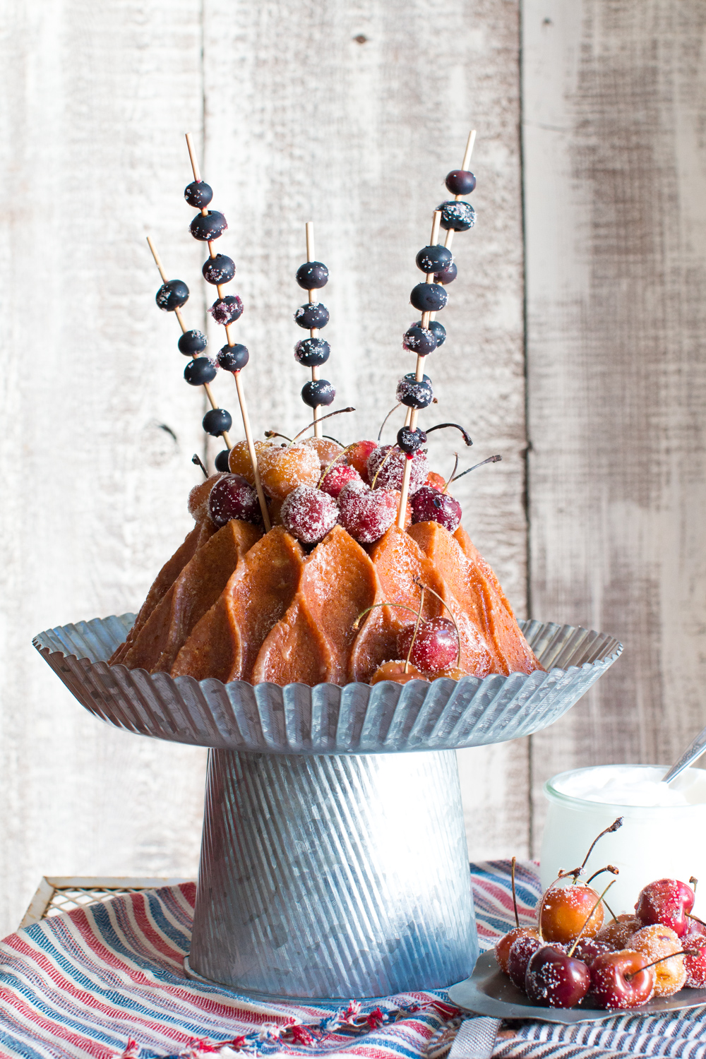 Brown Butter Bourbon Bundt Cake with Grilled Cherries and Blueberry Sparkler Skewers