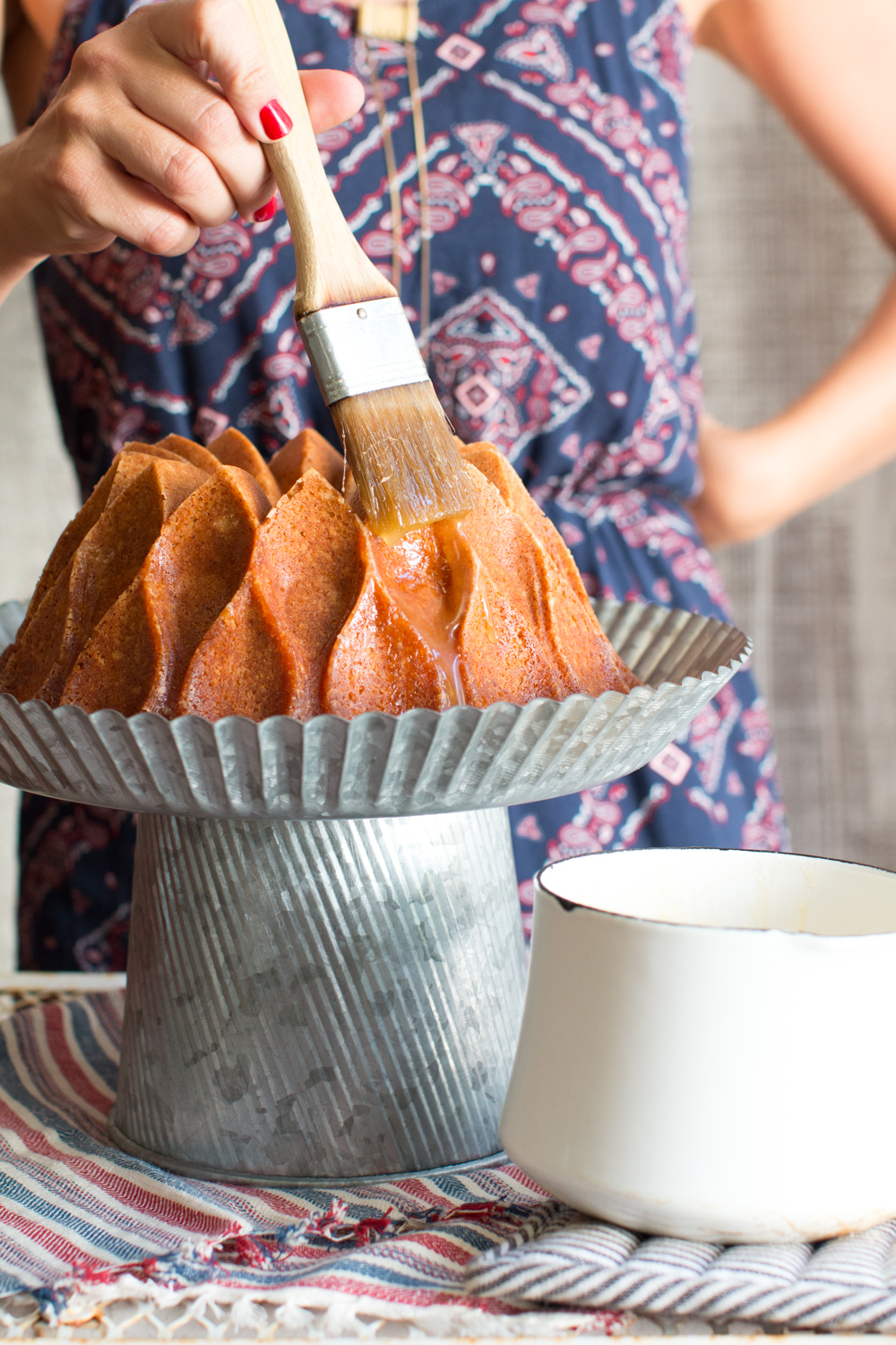 glazing brown butter bourbon bundt cake
