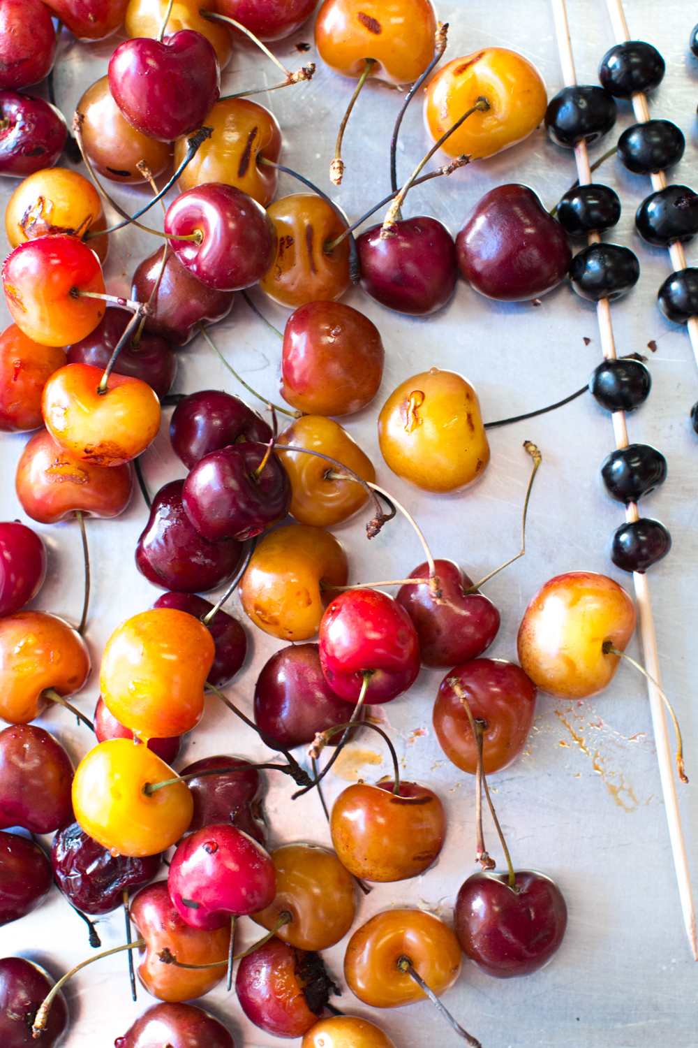 grilled cherries and blueberry skewers