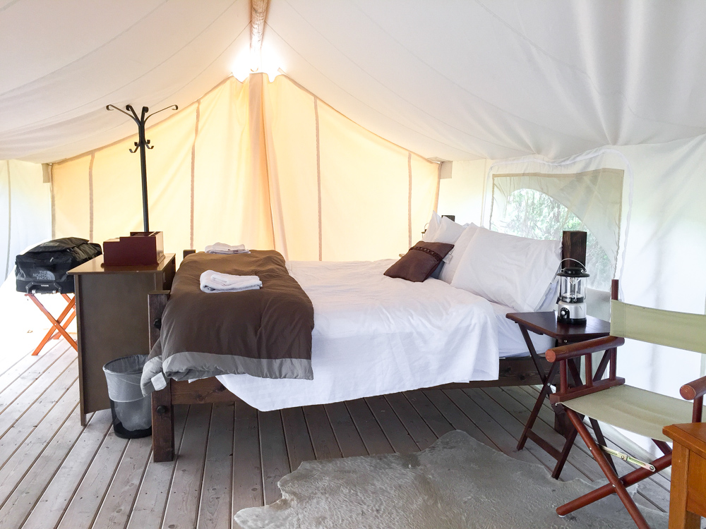 Inside the safari tent at Yellowstone Under Canvas in West Yellowstone