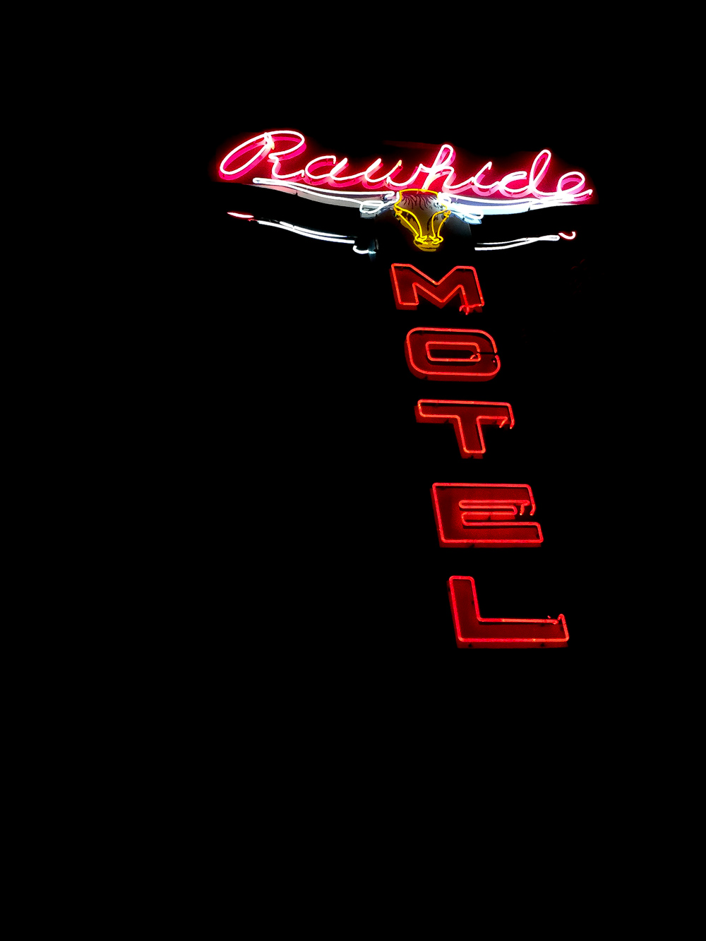 Neon hotel sign in Jackson, WY