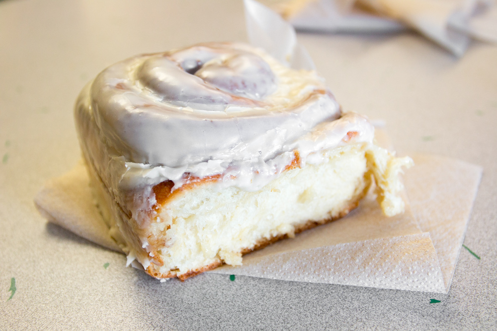 innamon roll at Woodside Bakery in West Yellowstone