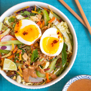 Crunchy Veg Bowl with Warm Peanut Sauce from Bon Appétit