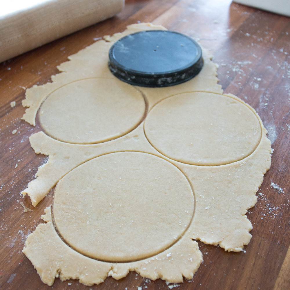 cutting hand pie dough into rounds