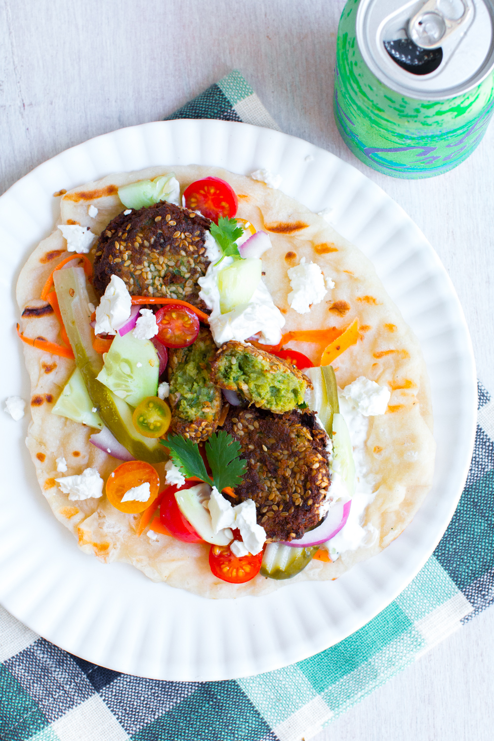 Falafel Pita adapted from The Sugar Hit by Baking The Goods. Served with La Croix, mmm.