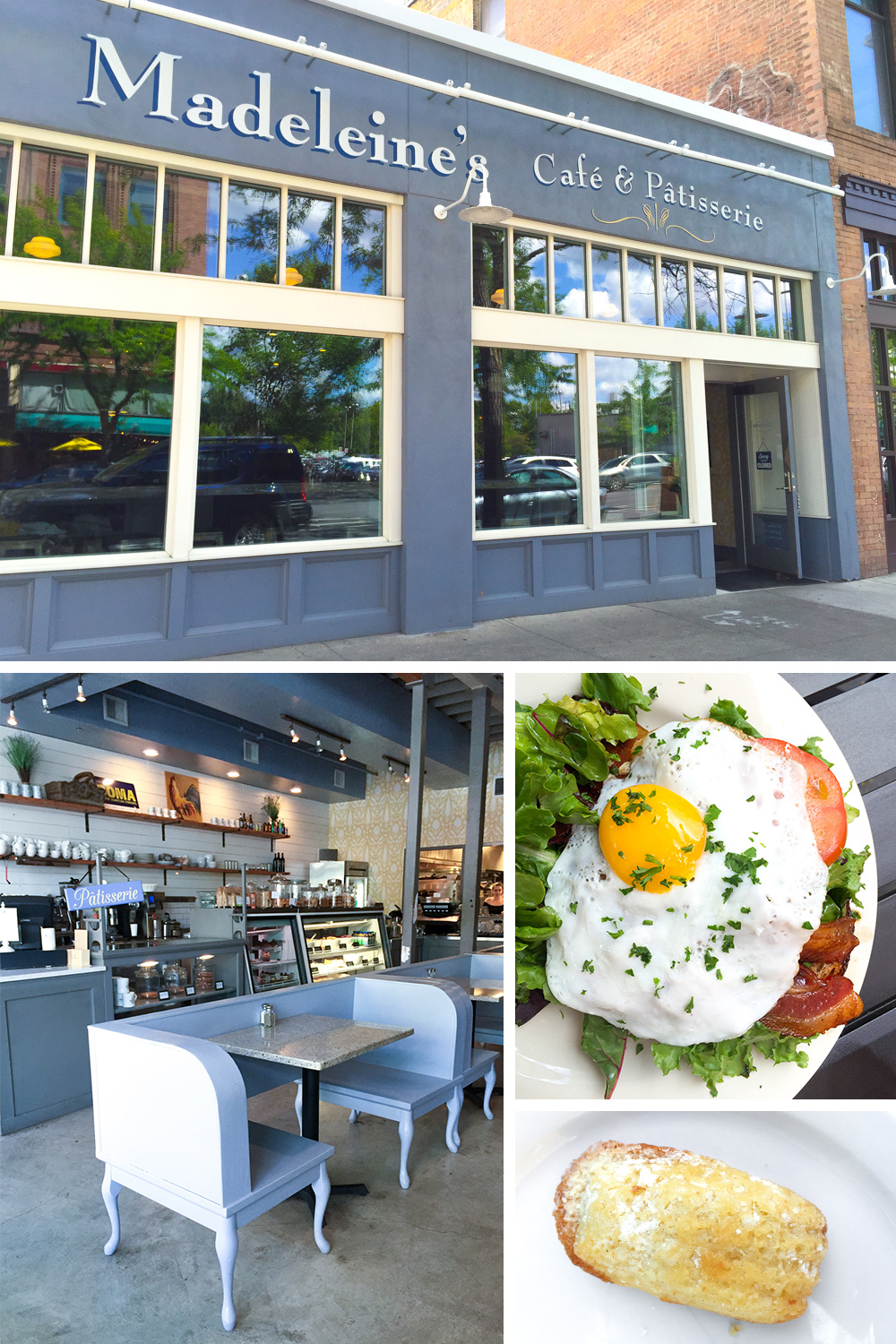 Madeleine's in Spokane, WA. Pretty and inviting interiors, an open faced BLT breakfast sandwich with a friend egg and their signature, a their moniker; a lemony Madeleine.