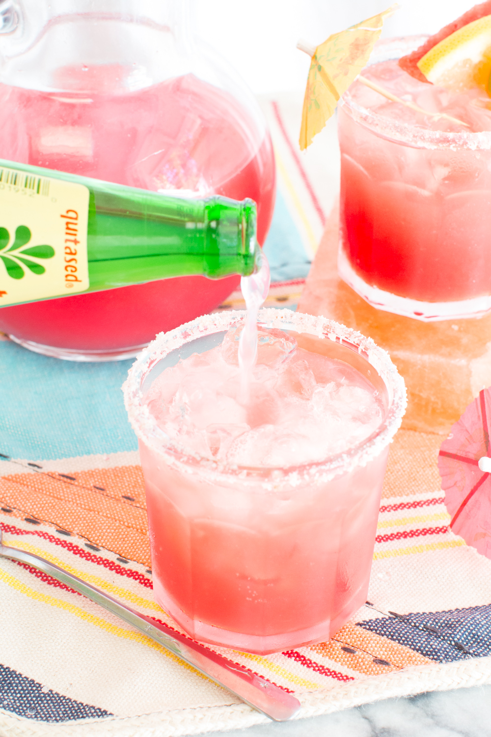 A fizzy float of squirt adds a special sparkle to the Watermelon Palomas