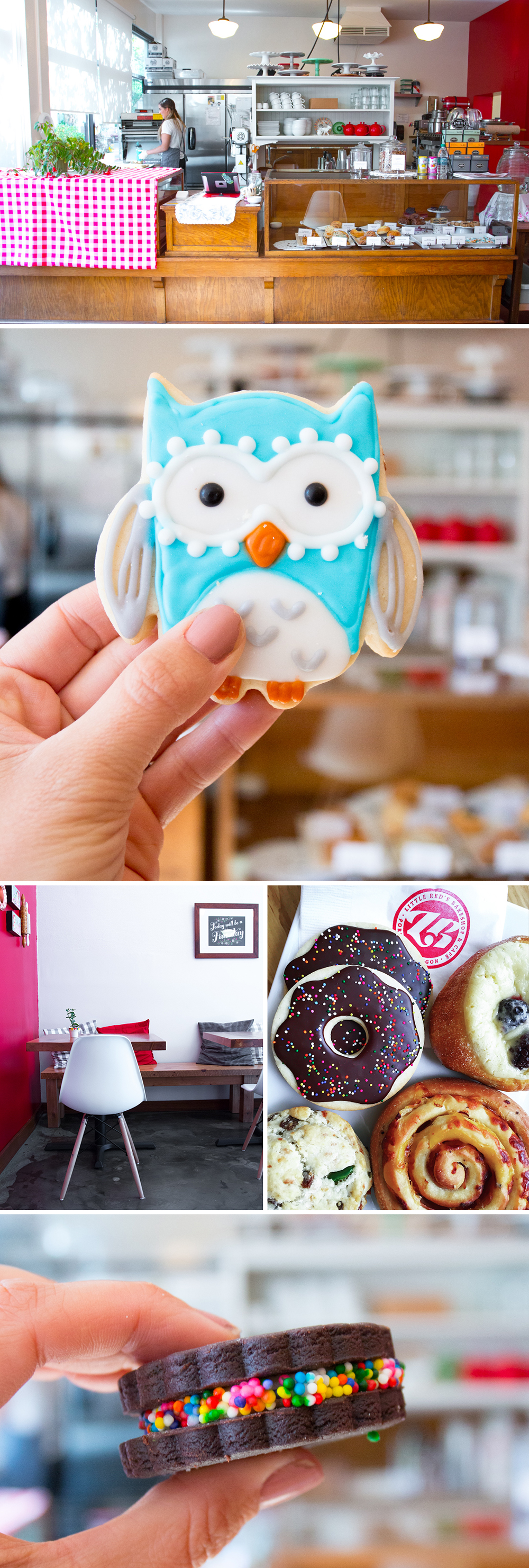 Little Red's Bakeshop & Café in SW Portland is a hoot! Just look at all of the fun, colorful goods!
