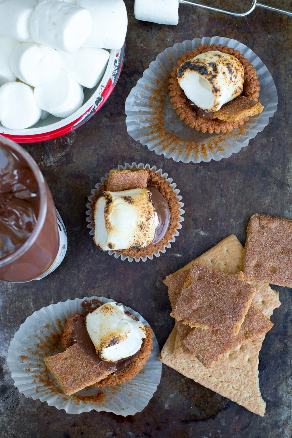 Nutella S'mores Cookie Cups mess