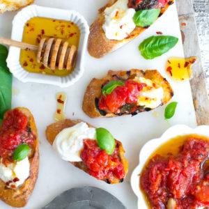 Tomato Confit & Burrata Crostini