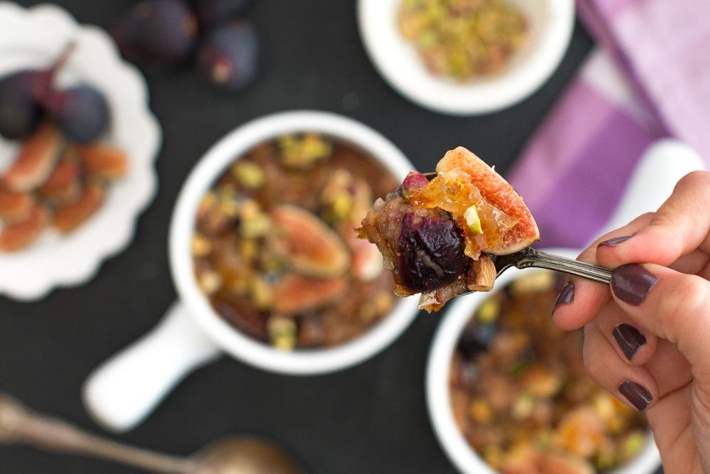 Fig Pistachio Oatmeal Brûlée bite