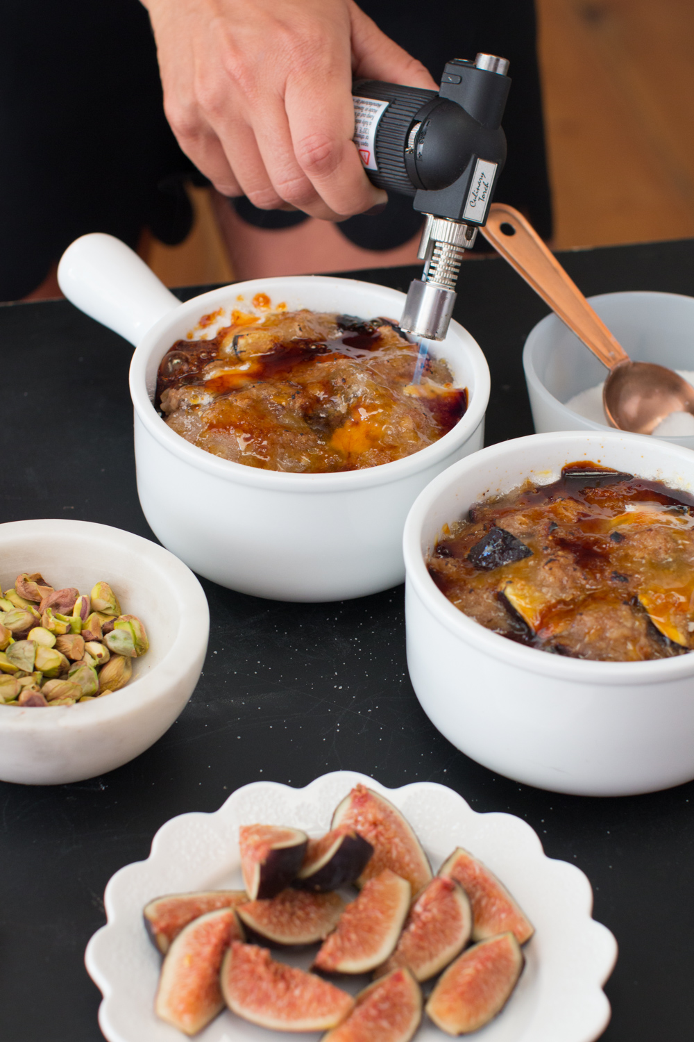Fig Pistachio Oatmeal Brûlée torch