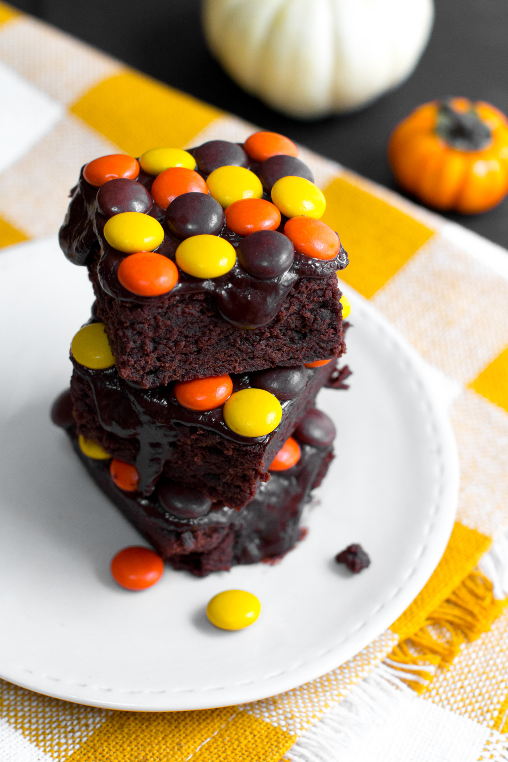 Reese's Pieces Brownies stacked up high