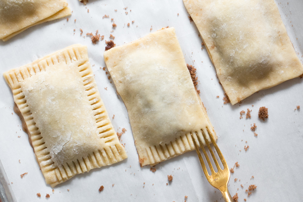crimping the Maple Glazed Apple Cinnamon Pop Tarts