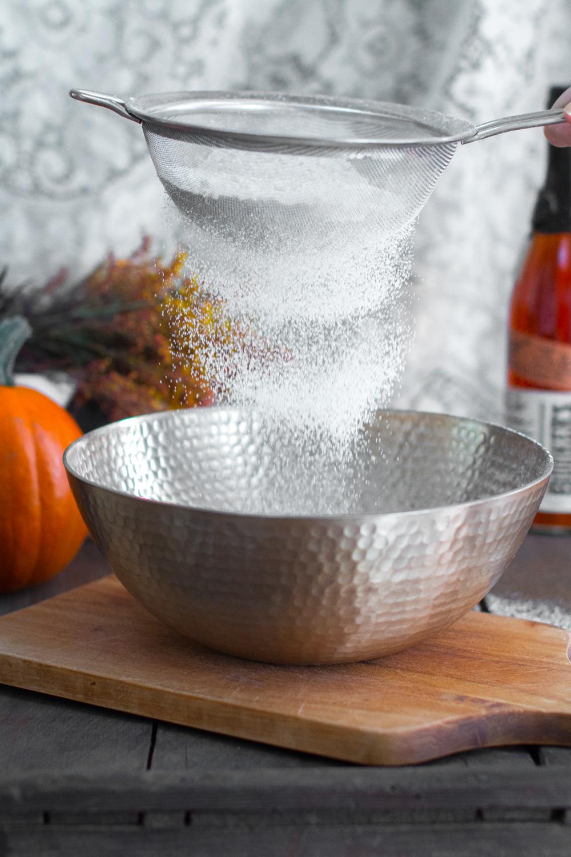 sifting cake flour