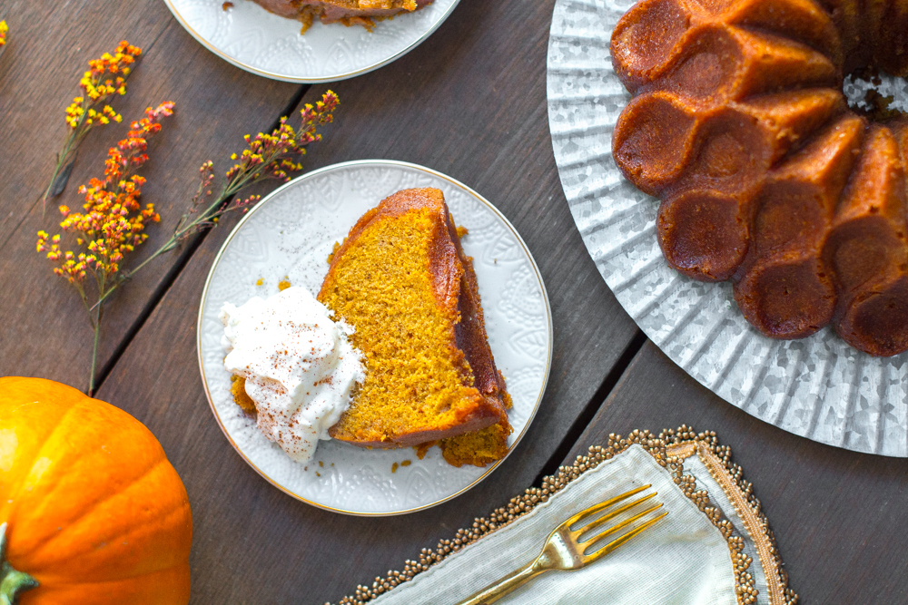 Pumpkin Spice Brown Butter Bourbon Bundt Cake with Cinnamon Whipped Cream.