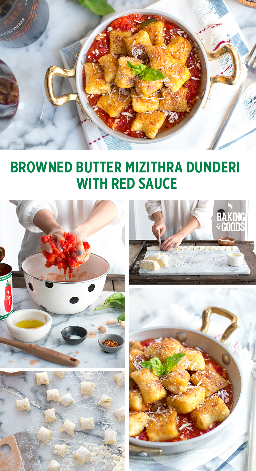 BROWNED BUTTER MIZITHRA DUNDERI WITH RED SAUCE