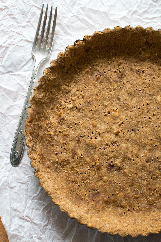 ginger molasses tart dough in pan