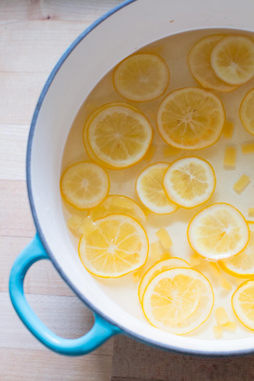 simmering meyer lemon & ginger to candy