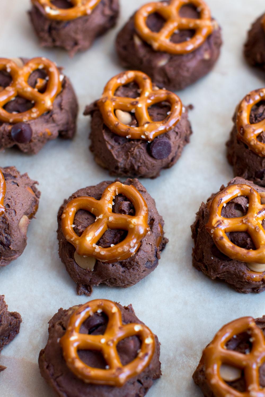Chocolate Peanut Butter Chip Pretzel Cookie dough balls