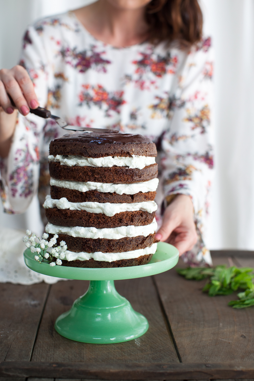 Mint Chocolate Cake - top with ganache!