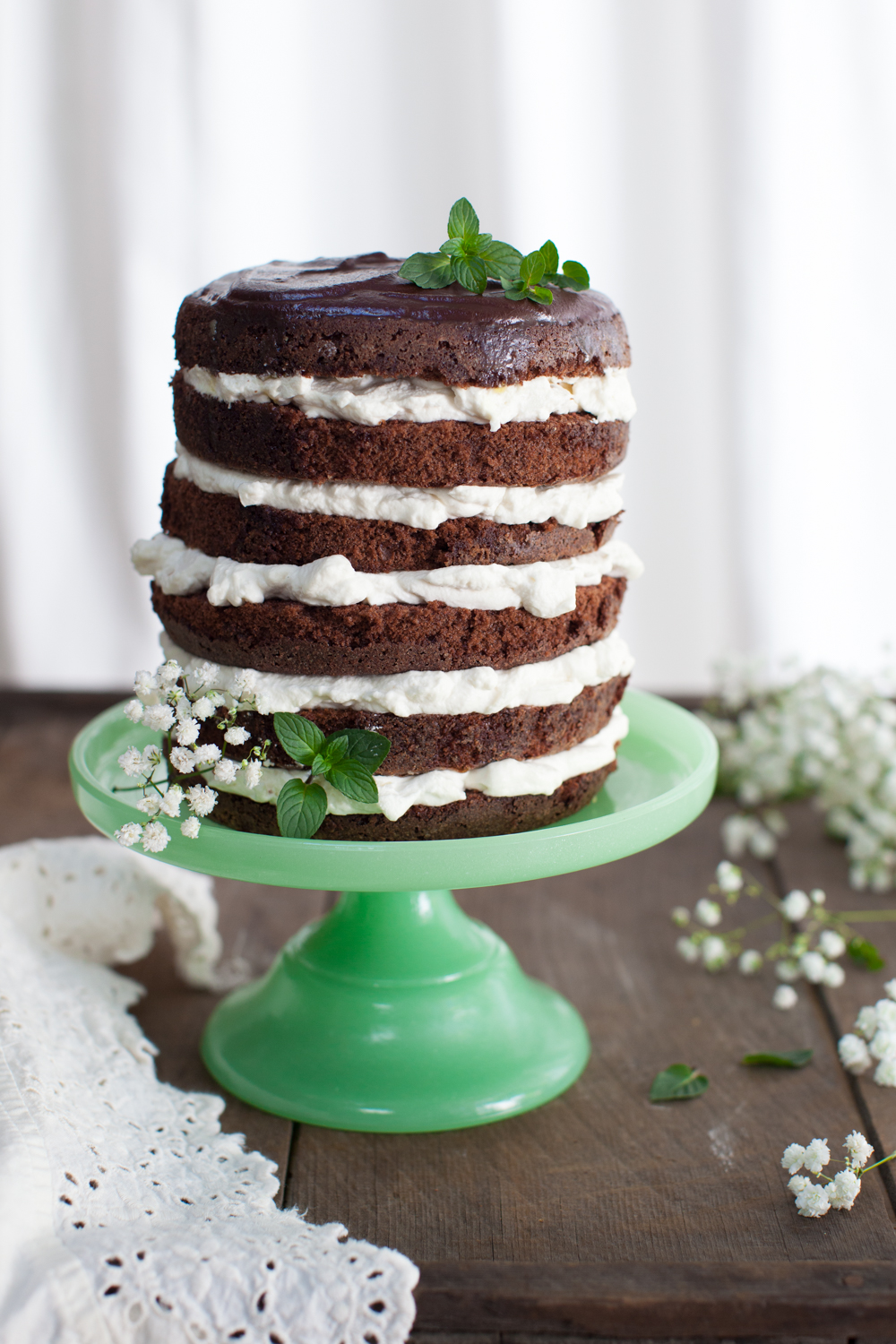 Mint Chocolate Cake layered up and ready to party.
