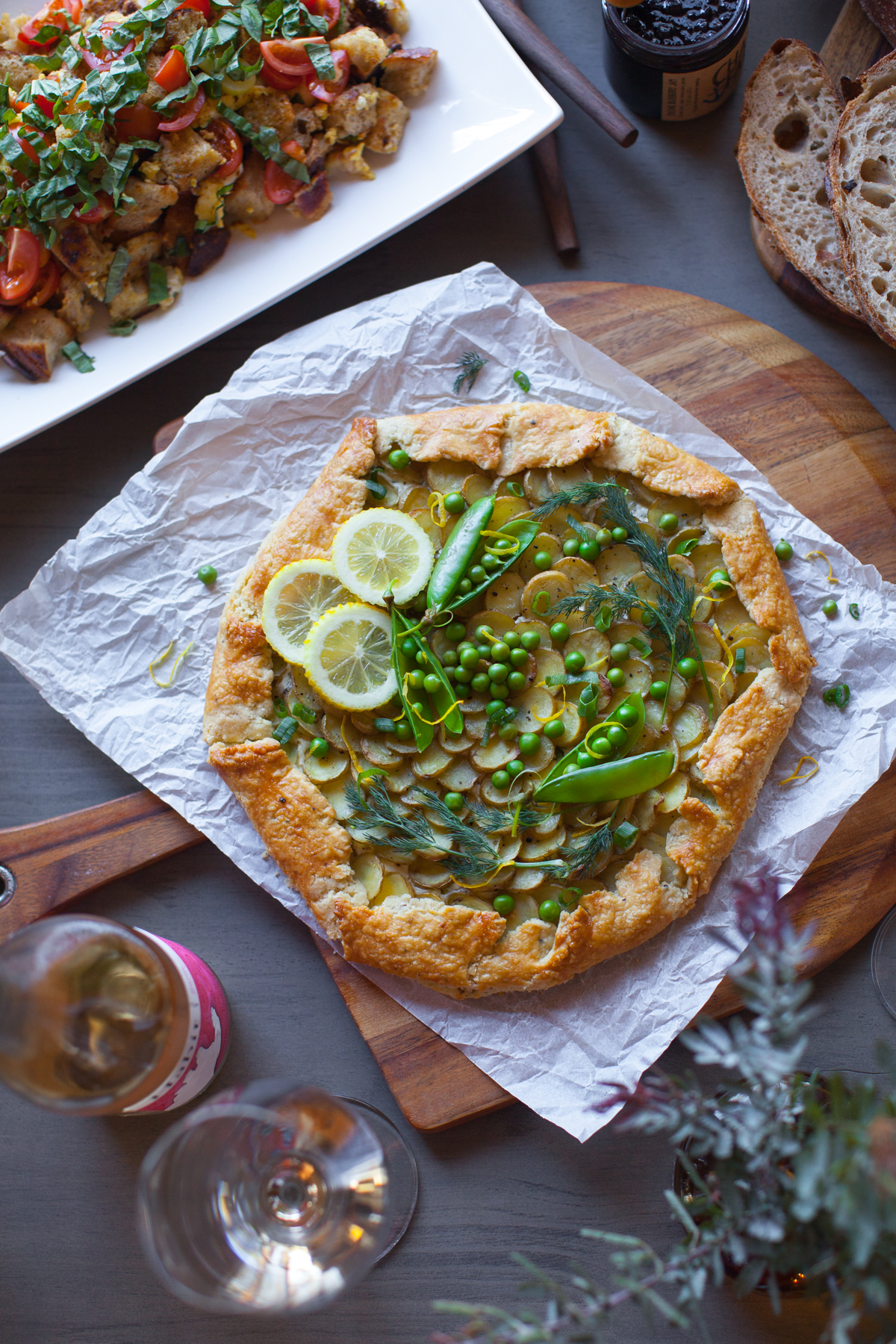 This Ricotta, Potato & Spring Pea Galette is right at home amongst this stunning spread.
