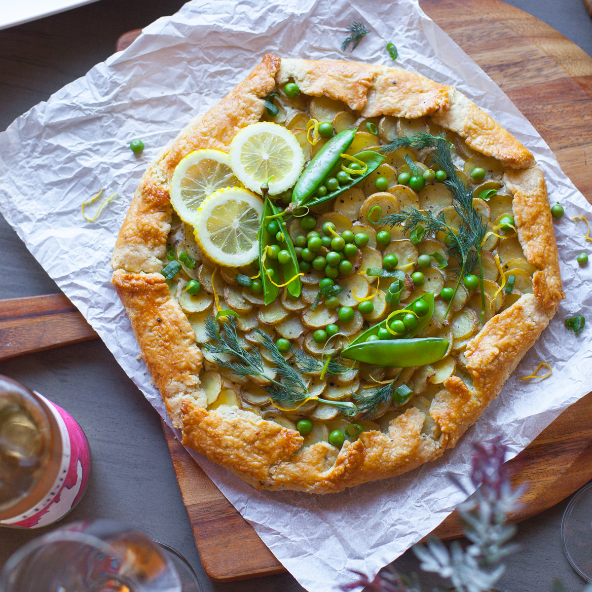 Ricotta, Potato & Spring Pea Galette prepared for Santa Barbara Ladies Spring Fling Brunch!