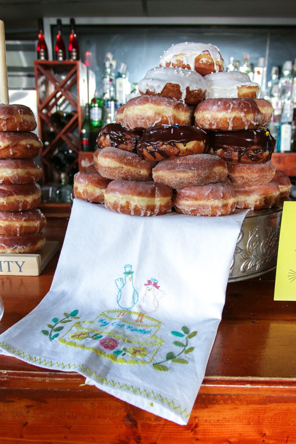 Wedding Cake made up of District Donuts in New Orleans, LA.