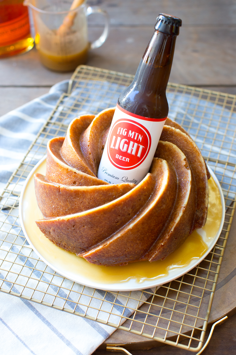 One Bourbon, One Scotch, One Beer Bundt Cake. The bourbon and butterscotch are baked in but that beer gets nestled right into the bundthole!