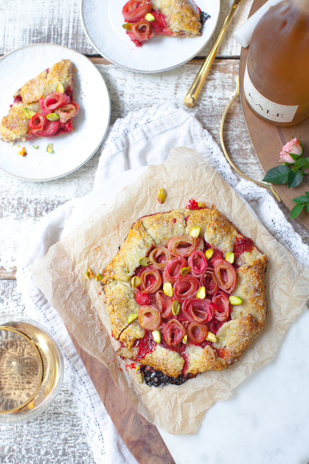 Rhubarb Rose Strawberry Pistachio Galettes, equal parts rustic and refined.