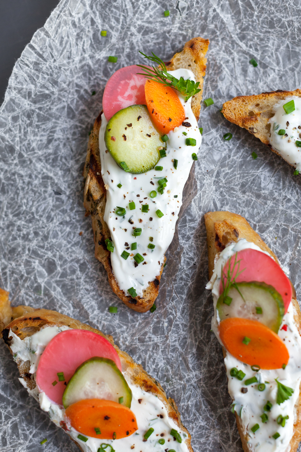Toast with Herbed Skyr and Quick Pickles, tart and tangy yet earthy and grounded.
