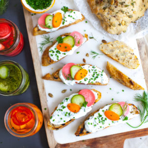 Toast with Herbed Skyr and Quick Pickles