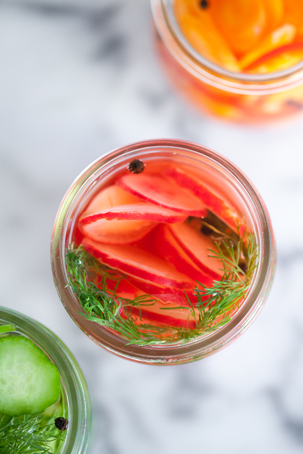 When quick pickling, just make sure the ingredients are full submerged in the vinegar before screwing on the cap.