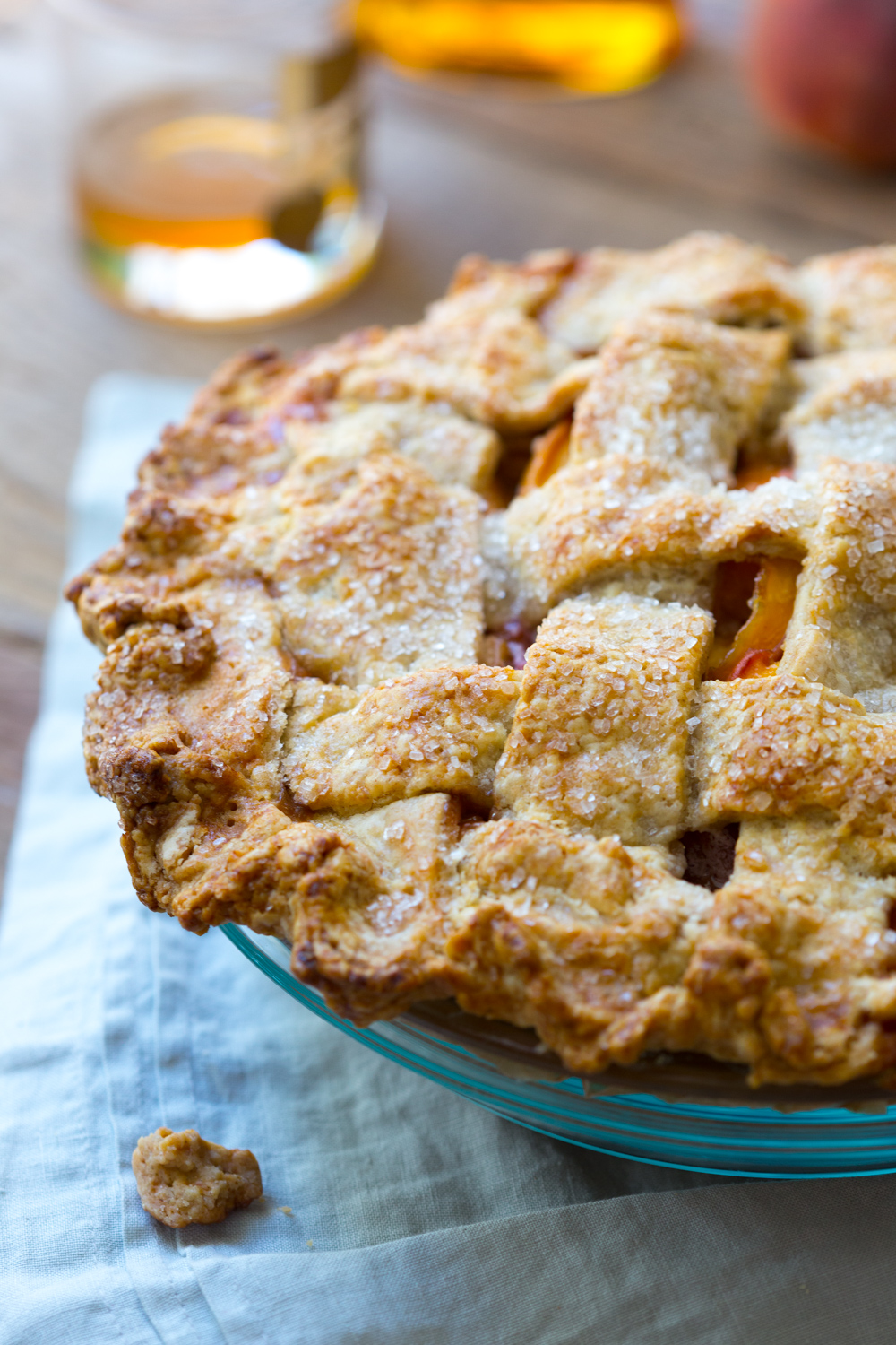 close up rye pie dough baked up into a tender, flaky, crunchy rich crust.
