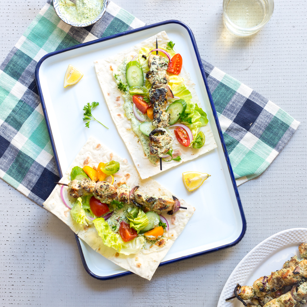 Feta Brined Chicken Skewers with Herby Feta Sauce by Baking The Goods.