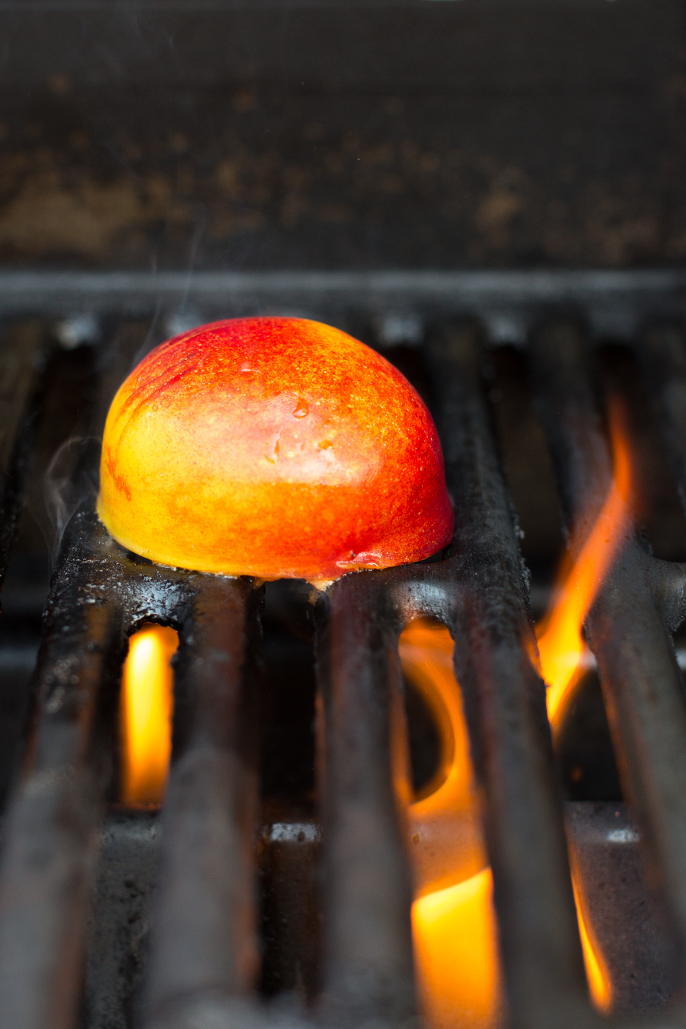 Nectarine on a hot grill.