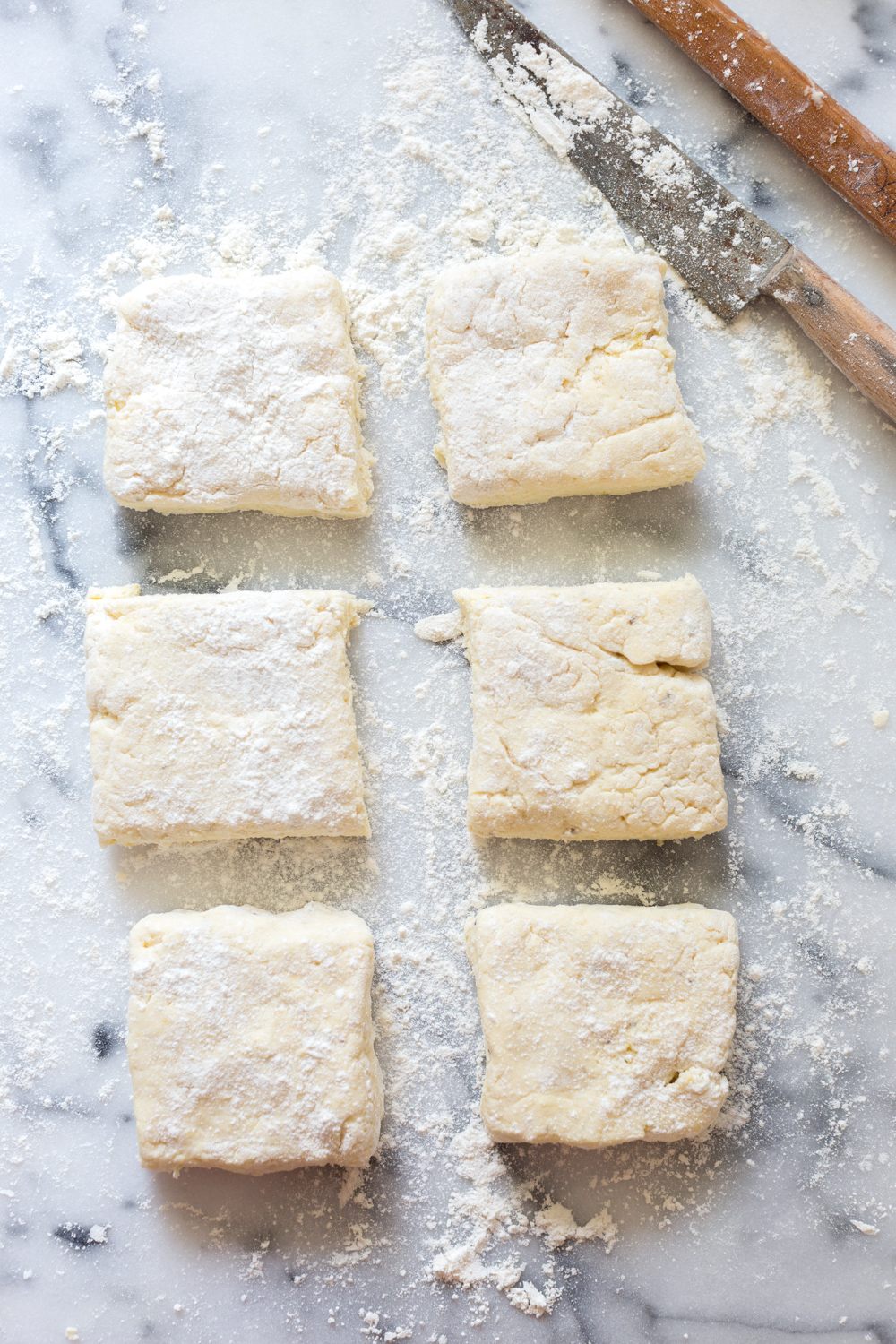 Slice the shortcake dough into 6 equal squares.