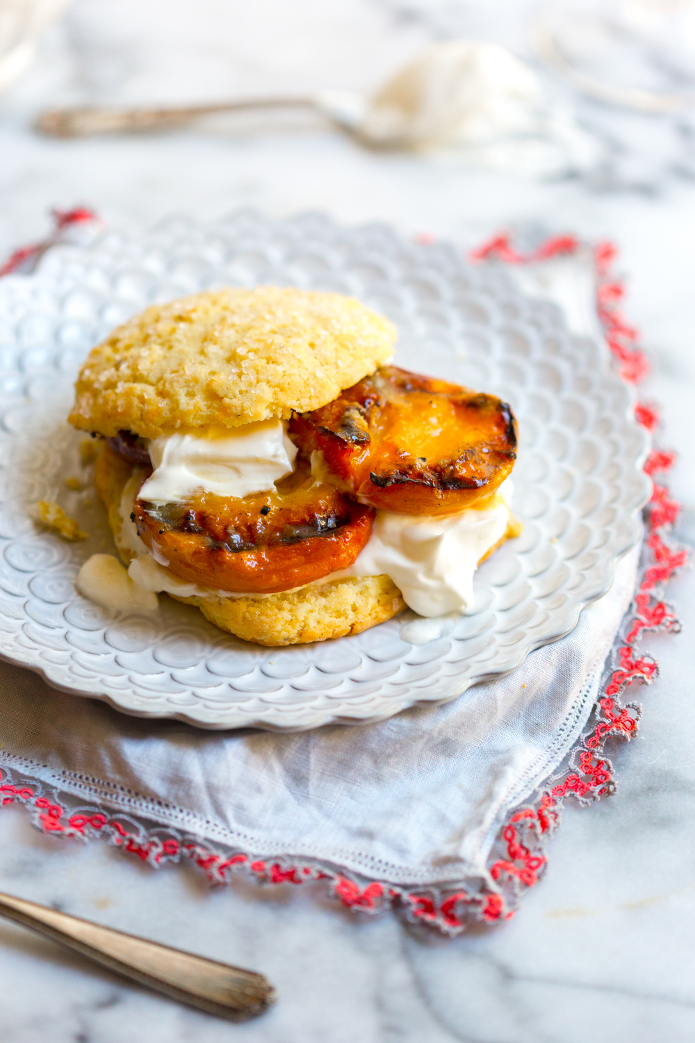Grilled Nectarines Shortcakes with a hearty dollop of lemony crème fraîche.