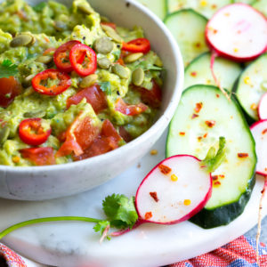 Guacamole with Spicy Cucumbers and Radishes