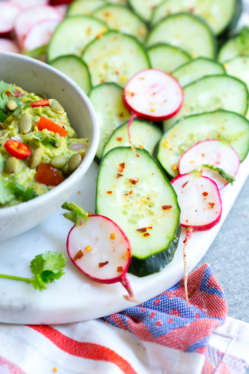 spicy cucumbers and radishes