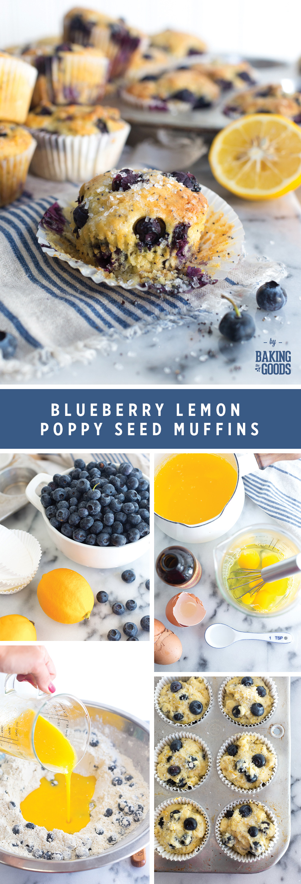 Blueberry Lemon Poppy Seed Muffins by Baking The Goods.